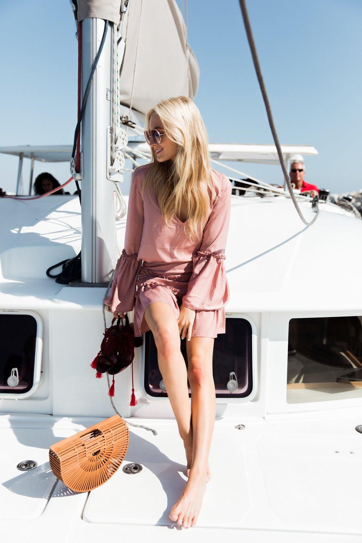 Kaitlynn wears  The Fifth Banjo L/S Top  +  Skirt ,  JAGGAR Swerve Block Heel .