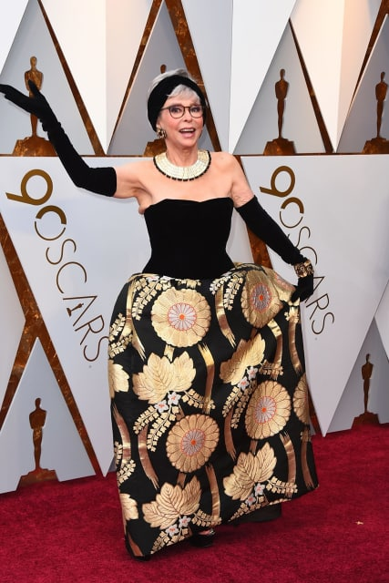 Rita Moreno in the same dress she wore when picking up an oscar in 1962. Image: Jordan Strauss.