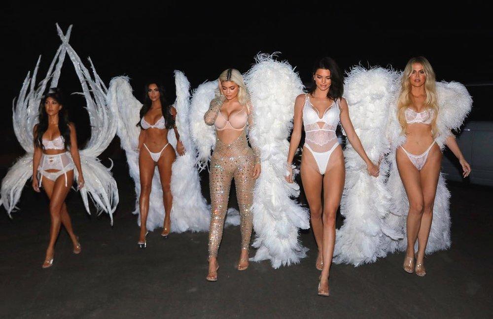 Kourtney, Kim + Khloe Kardashian, Kylie + Kendall Jenner as Victoria's Secret Angels // via instagram.com/kimkardashian