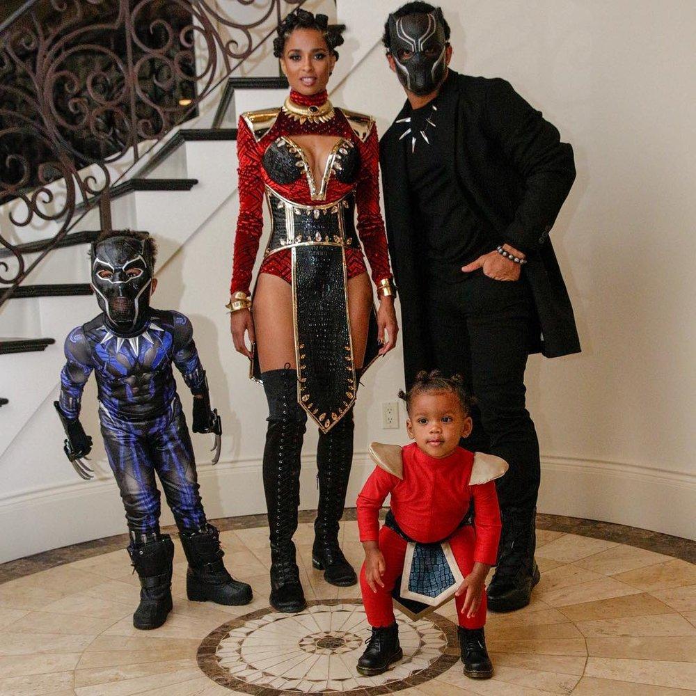 Ciara + family as Black Panther heroes // via instagram.com/ciara
