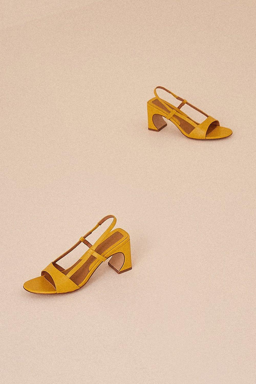 Shop JAGGAR The Label Concave Leather Heel in cornsilk.