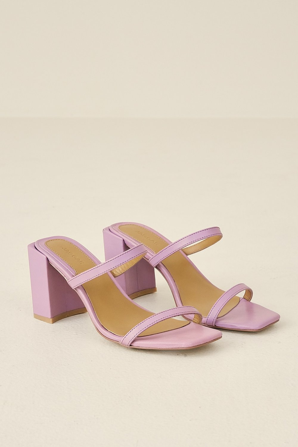 Shop JAGGAR The Label Square Heel in lilac.