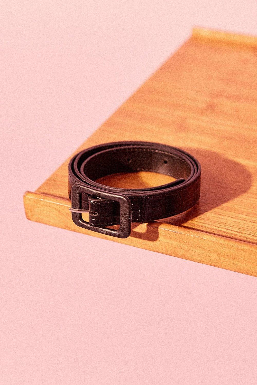 Shop JAGGAR The Label Vintage Croc Belt in black.