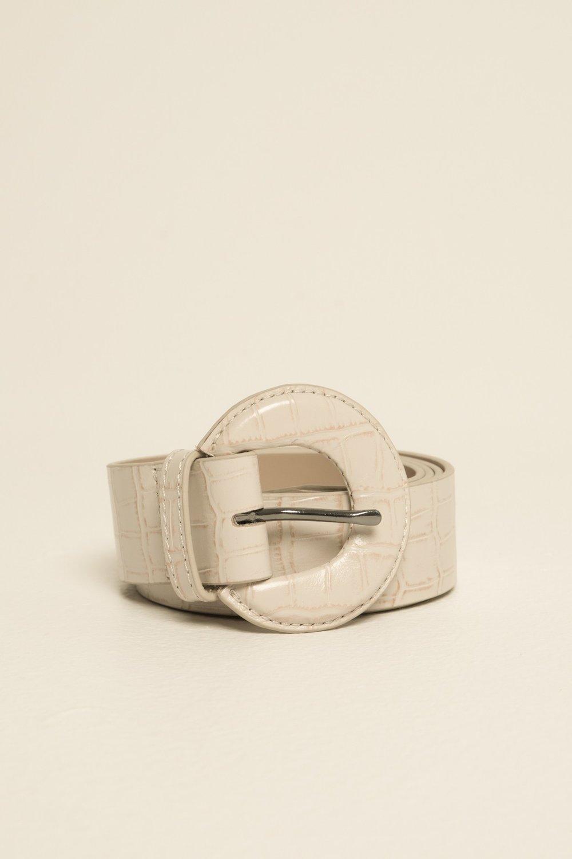 Shop JAGGAR The Label Buckle Belt in crocodile cream leather.