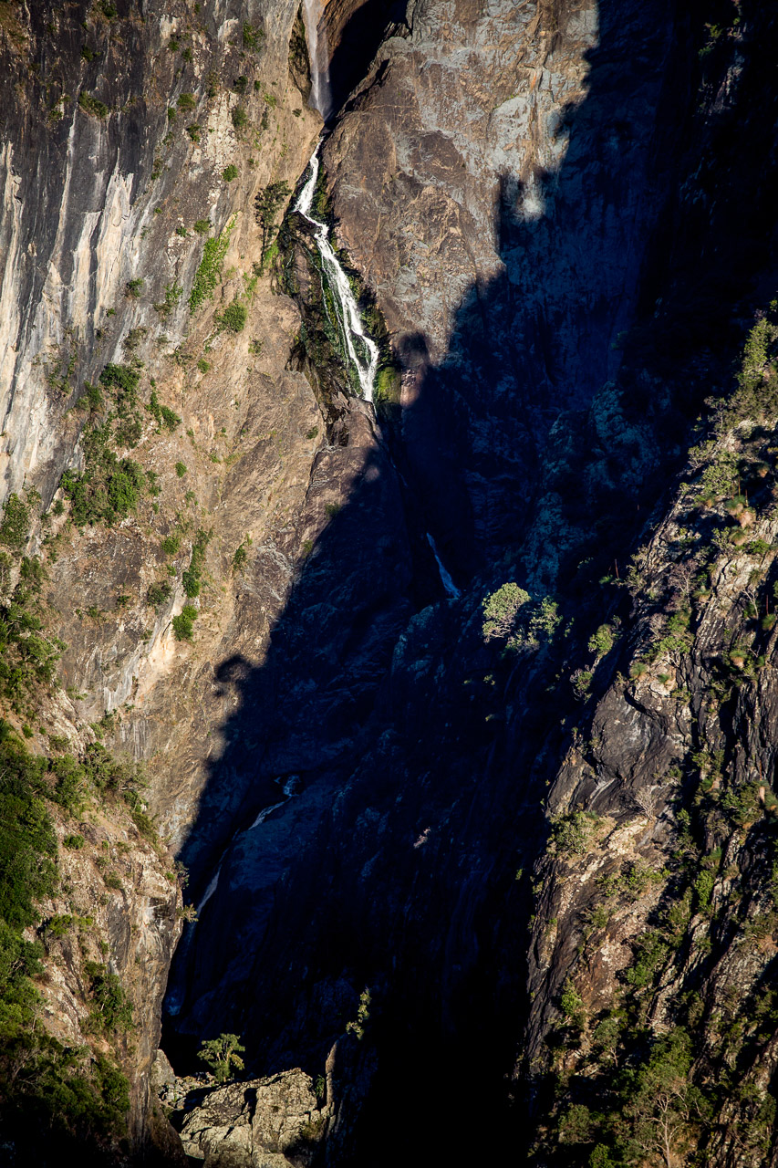This is Chandler Falls on the far side of the gorge using a 400mm lens. I loved the more abstract nature of the shot from the longer focal length, light and shadow. I particularly like the illuminated tree at the base of the shadow.