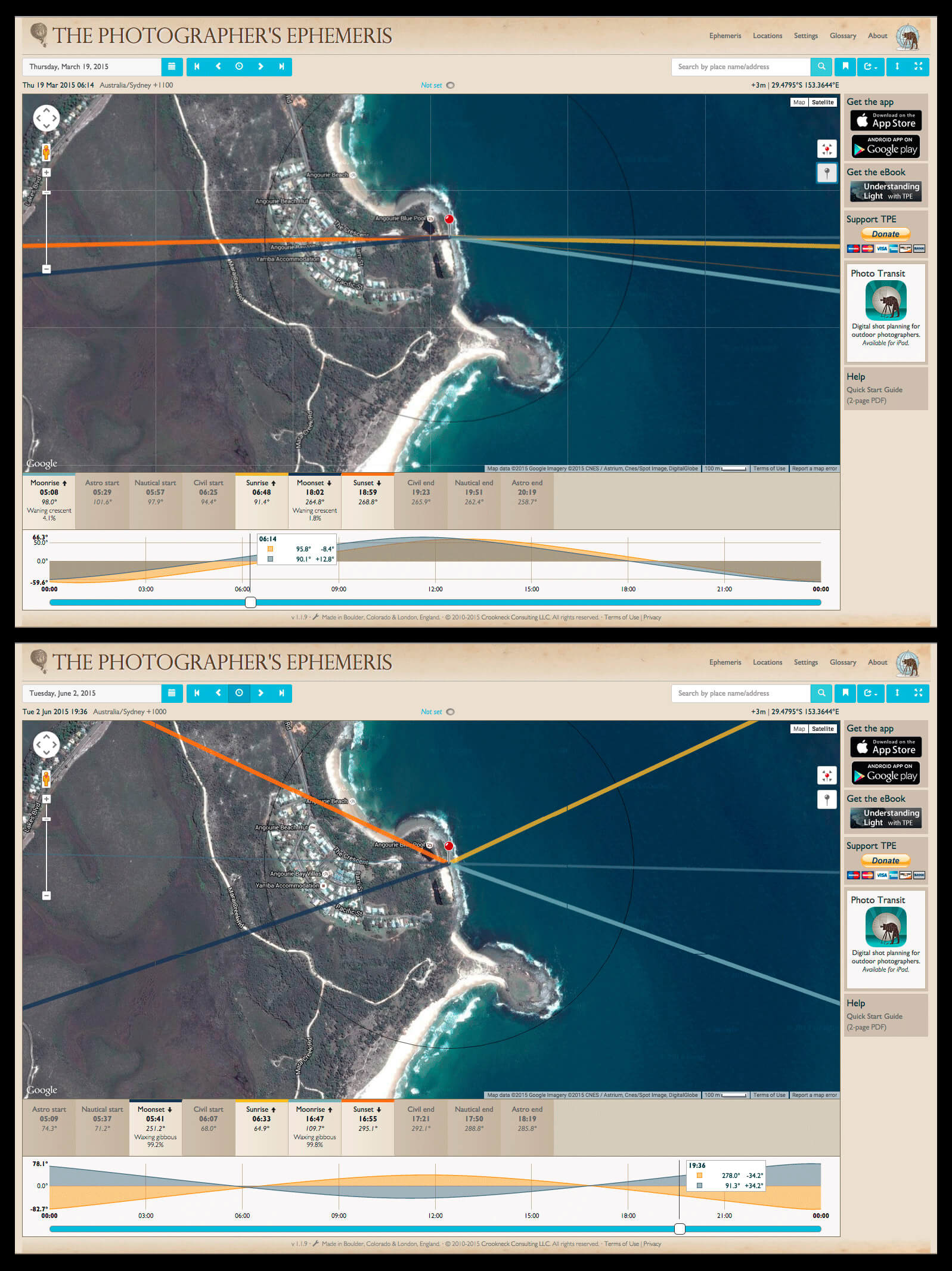 Screenshots of TPE showing the sun and moon positions on 19th March (top) and 2nd June (bottom). In the top image, the line of interest is the thin dark blue line above the yellow one which shows the moon's position at the time I have selected (06.14). In the bottom image, the light blue line towards south east shows where the moon will rise.