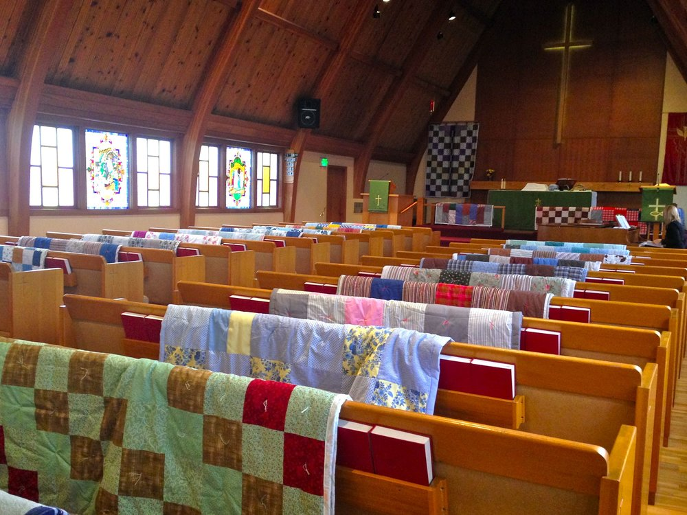 Zion Quilters give quilts to people in need locally, nationally and to international crisis spots through Lutheran World Relief