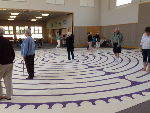 "Saturday, September 6, 2014, Pastor Colleen Nelson leads the ""Walking the Labyrinth"" Retreat with Pastor Laura Elly Hudson, 1st Presbyterian Church at their Friendship Center. Very positive feedback and hopes that the labyrinth will be available for walking meditation in the future."
