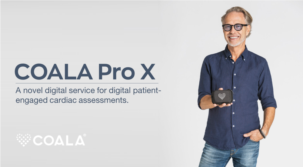 Coala Pro X: Smart cardiac assessments as-a-service - Introducing the Coala Pro X, a new service for patient centered, digital cardiac investigations in a home environment. Upon order, a Coala Heart Monitor Pro is sent directly to the patient for montoring, which simplifies handling, eliminates waiting times, and more efficient remtote cardicac assessmenrt through any connected computer. Download the product note here.