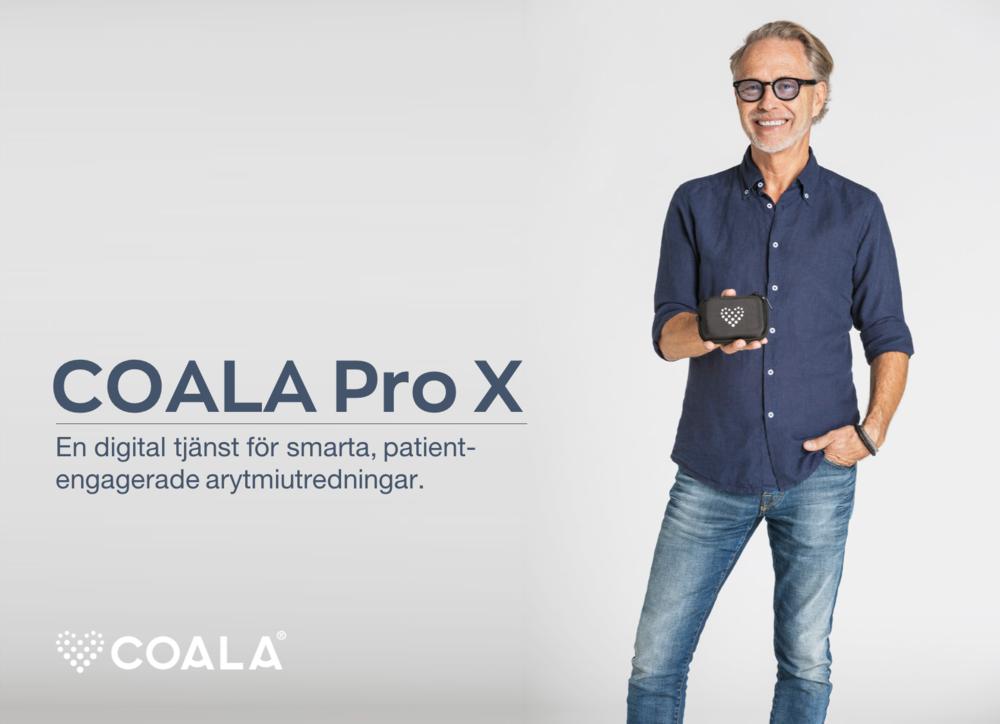 Pro X - en ny tjänst för dig som inte vill äga och hantera produkter på kliniken. - Coala Pro X är en ny medicinteknisk tjänst för patientengagerade, digitala hjärtutredningar i hemmiljö. Vid beställning skickas en Coala Heart Monitor Pro direkt till patienten vilket förenklar hanteringen för vården, inga väntetider och där uppföljning och utredning sker enkelt på distans via uppkopplad dator.Läs mer om Coala Pro X här.