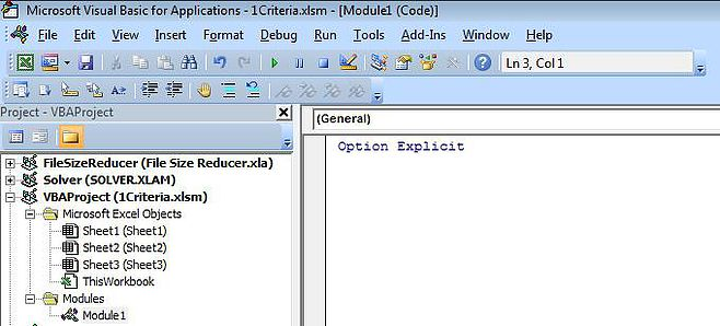 Excel VBA Editor