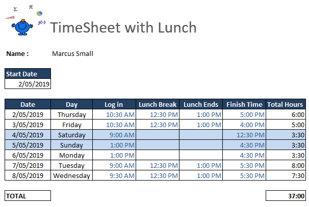 Excel Timesheet Example Excel Dashboards Vba