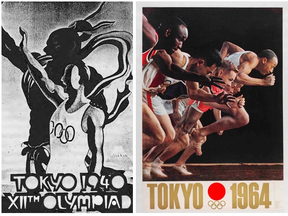 Left: Official Poster of the 1940 games. Right: Promotional poster from 1964.