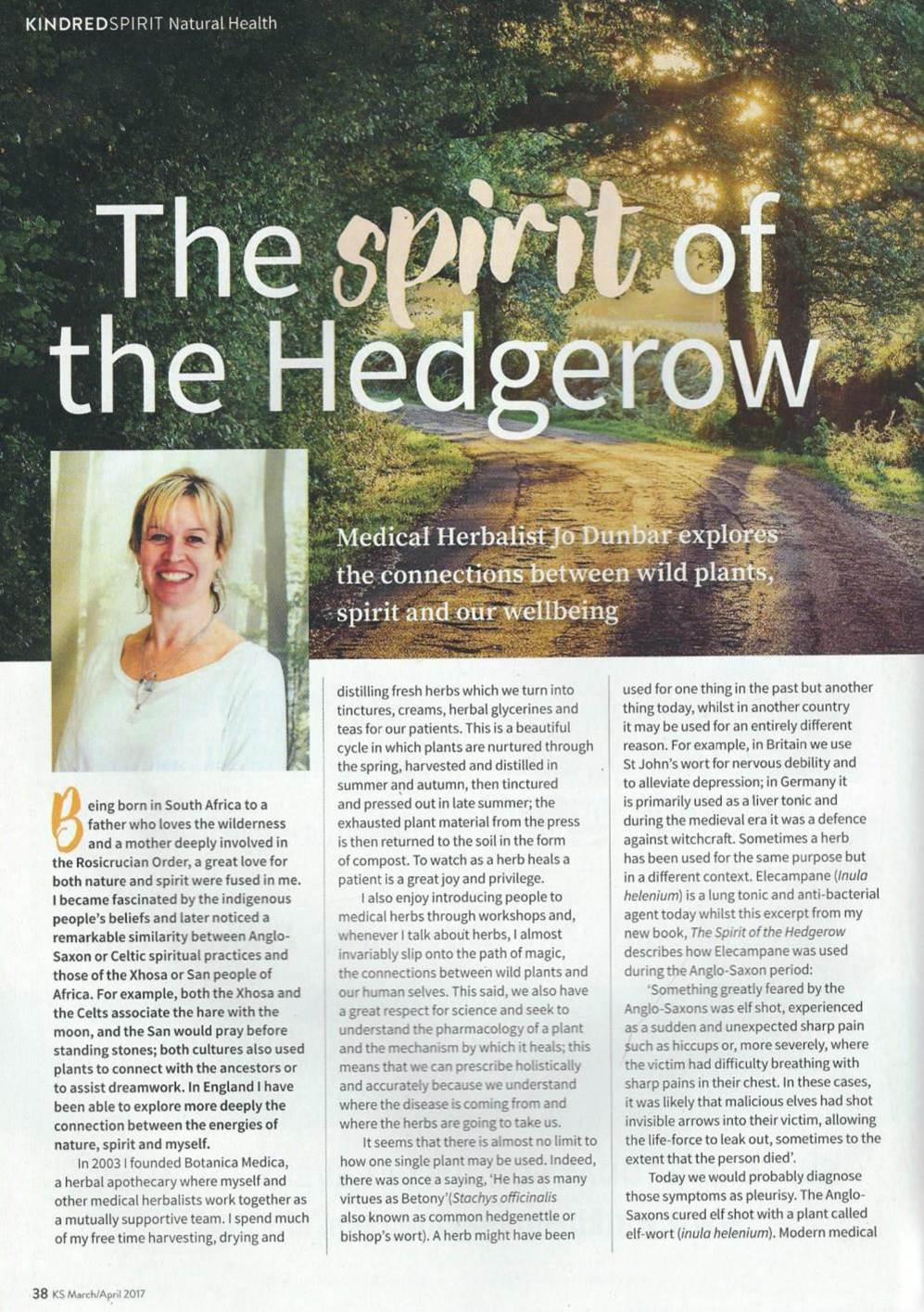 The Spirit of the Hedgerow article featured in Kindred Spirit Magazine March/April 2017
