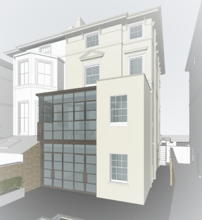 View of the rear of the property, as proposed with two storey crittal style extension