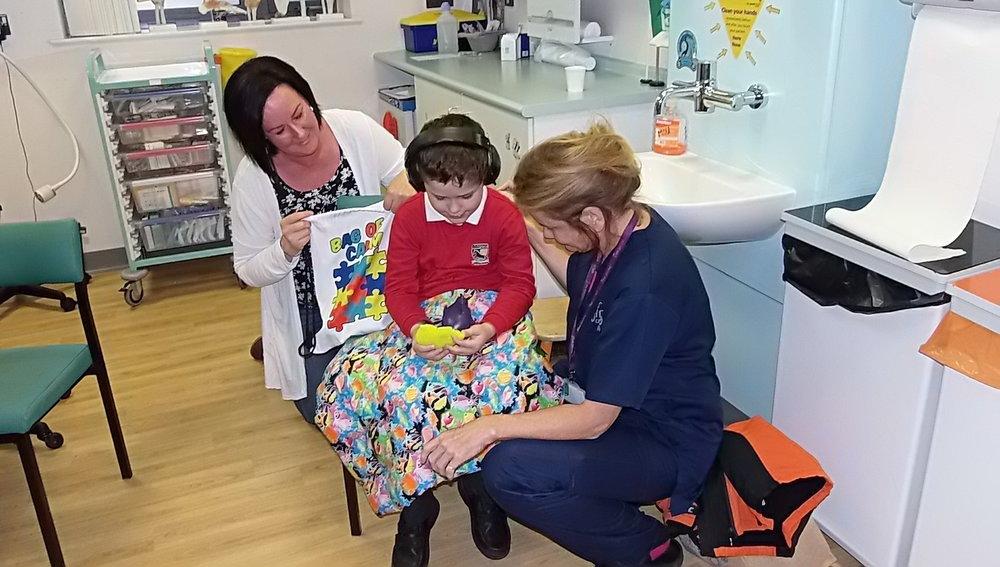 Kelly with Rowan and Nurse Matron Sarah Tosh at Yate Minor Injuries