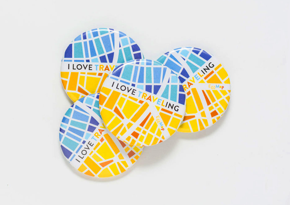 I LOVE TRAVELING badges with EggMap custom-design. Show your love for exploring the world!