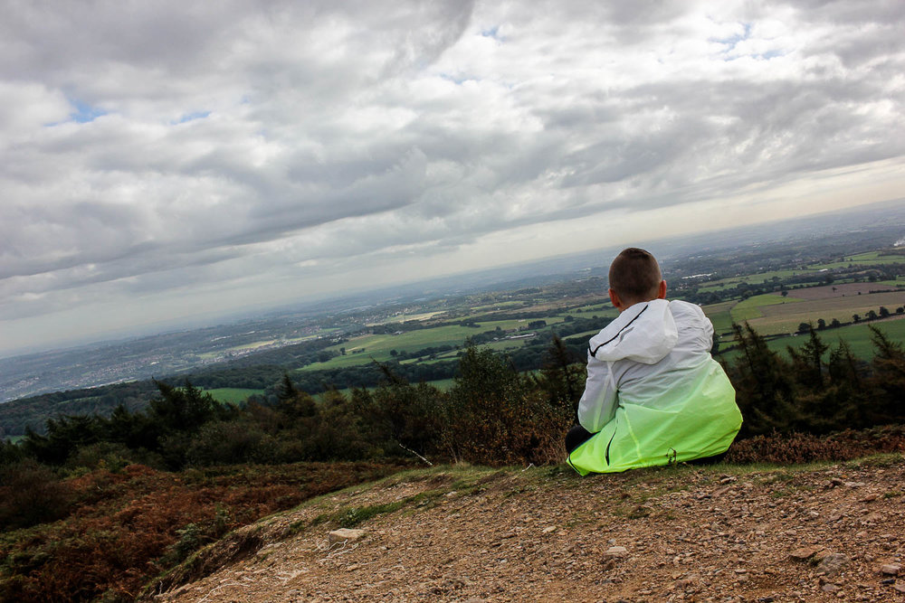 Admiring the view at the Wrekin