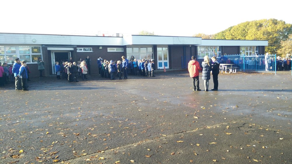 The whole school observe two minutes silence.
