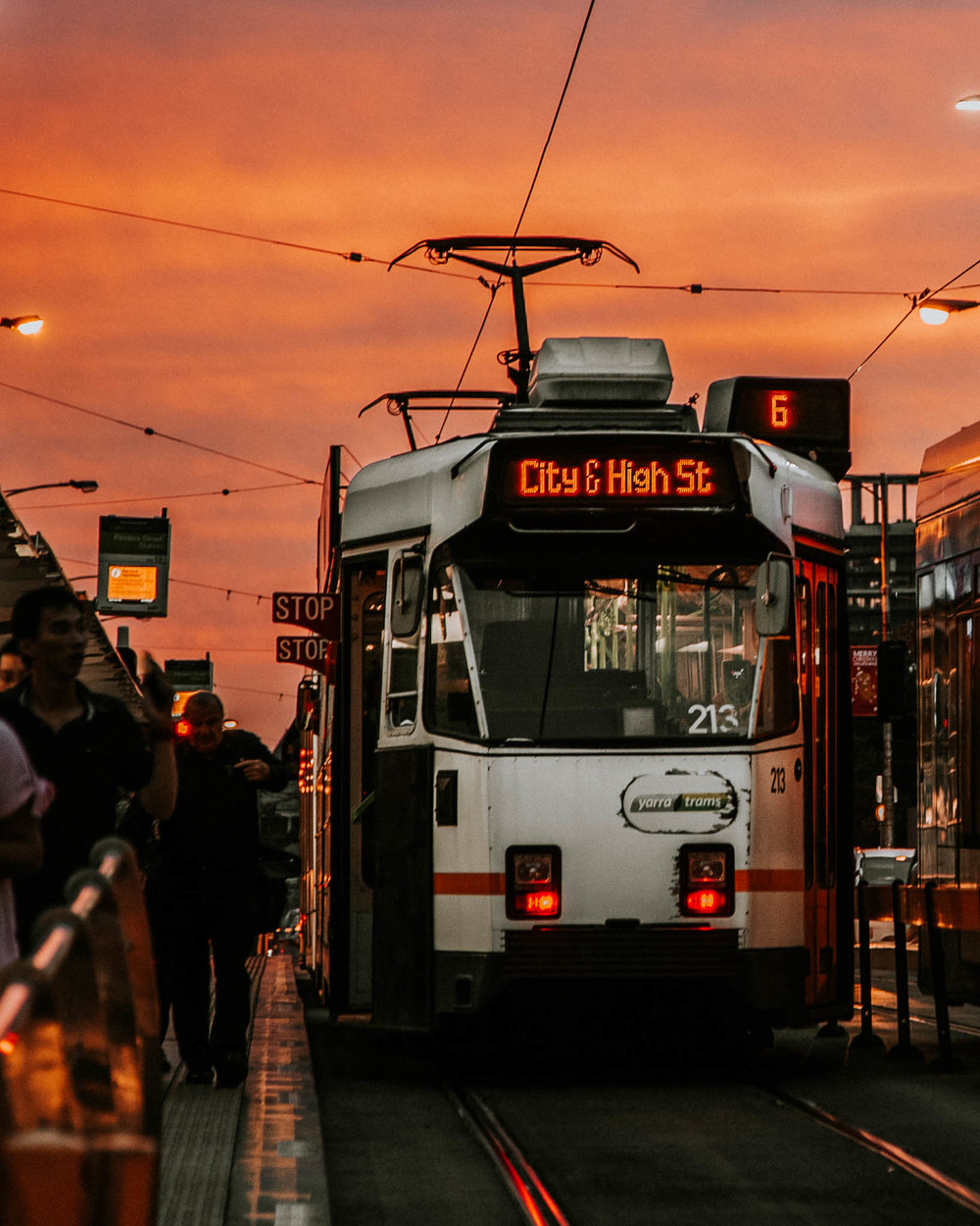Melbourne Trams at Sunset.