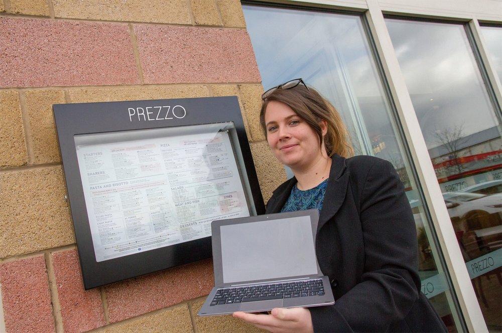 Sheffield Centertainment Restaurant Manager Lindsay Garrett holds one of the bespoke devices