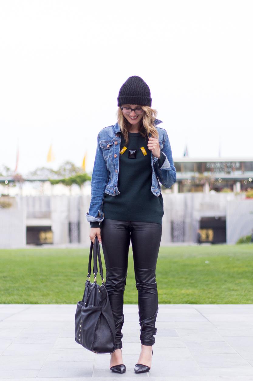 Jacket: Gap via Crossroads Trading | Sweater: H&M via Crossroads Trading | Pants: H&M | Beanie: H&M | Shoes: Charles Jourdan | Bag: Macy's