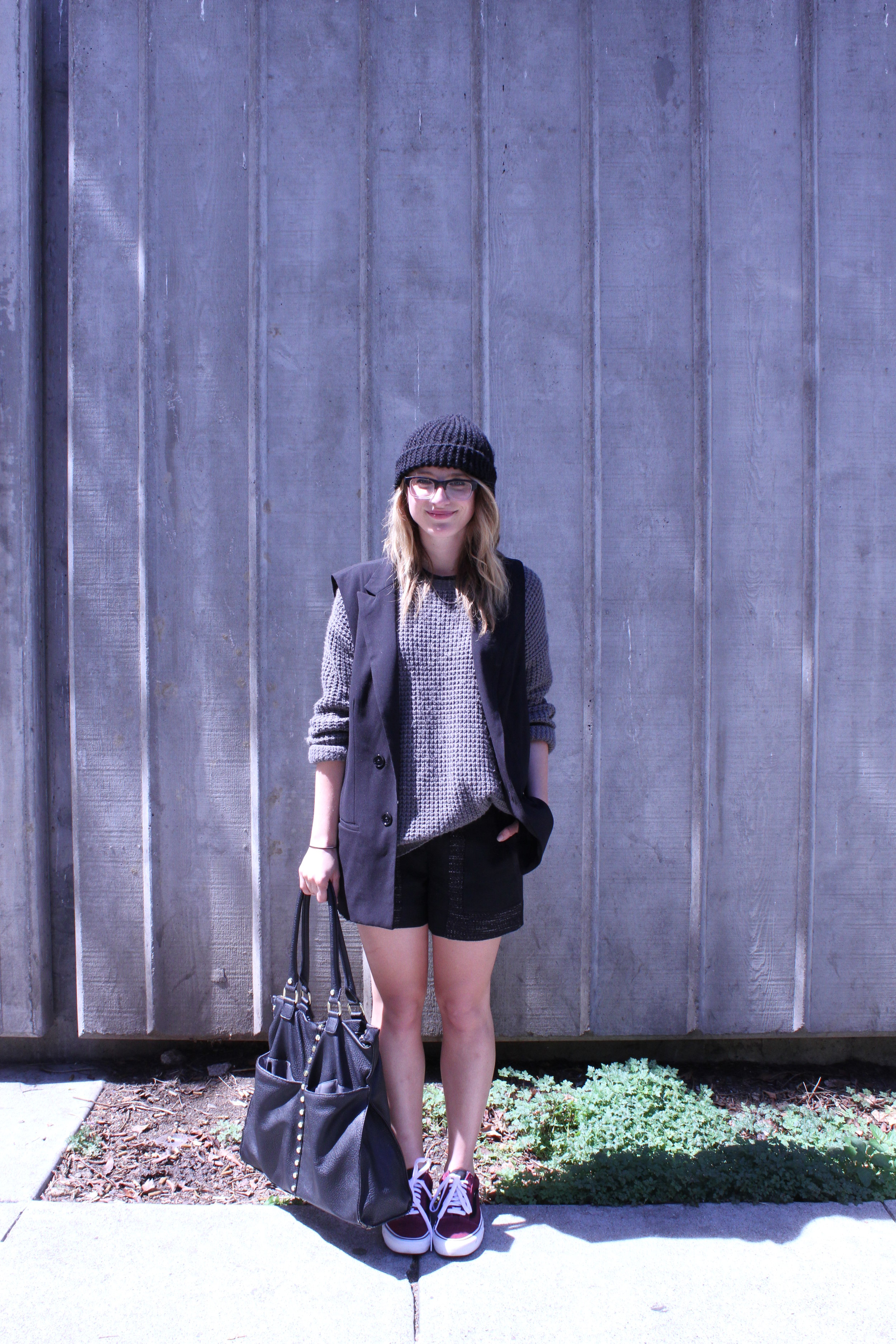 Vest: Target | Sweater: F21 | Shorts: BCBGeneration | Shoes: Vans via Crossroads Trading
