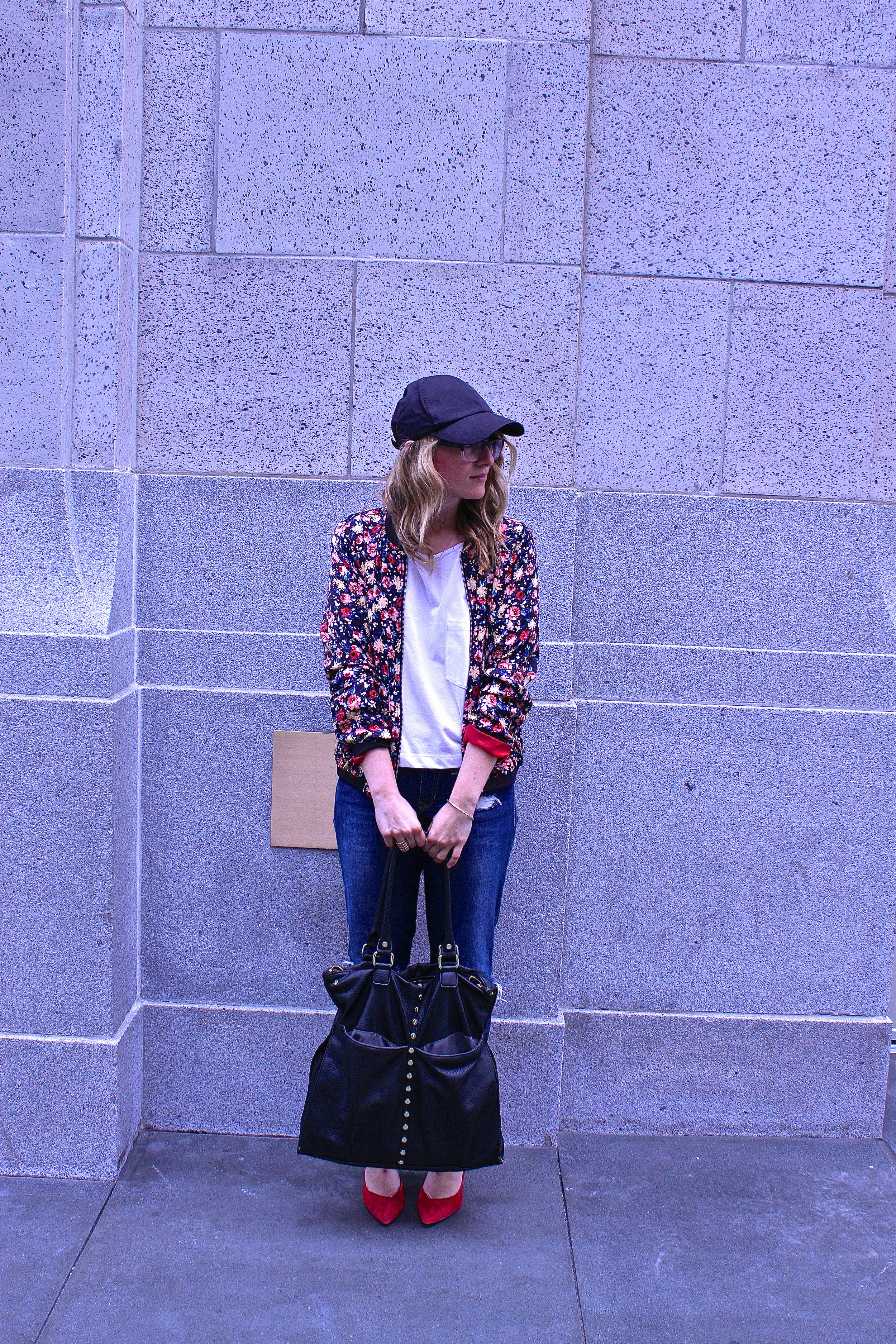 Bomber: Zara via Crossroads Trading | Shirt: F21 | Pants: Gap | Shoes: DSW | Hat: H&M