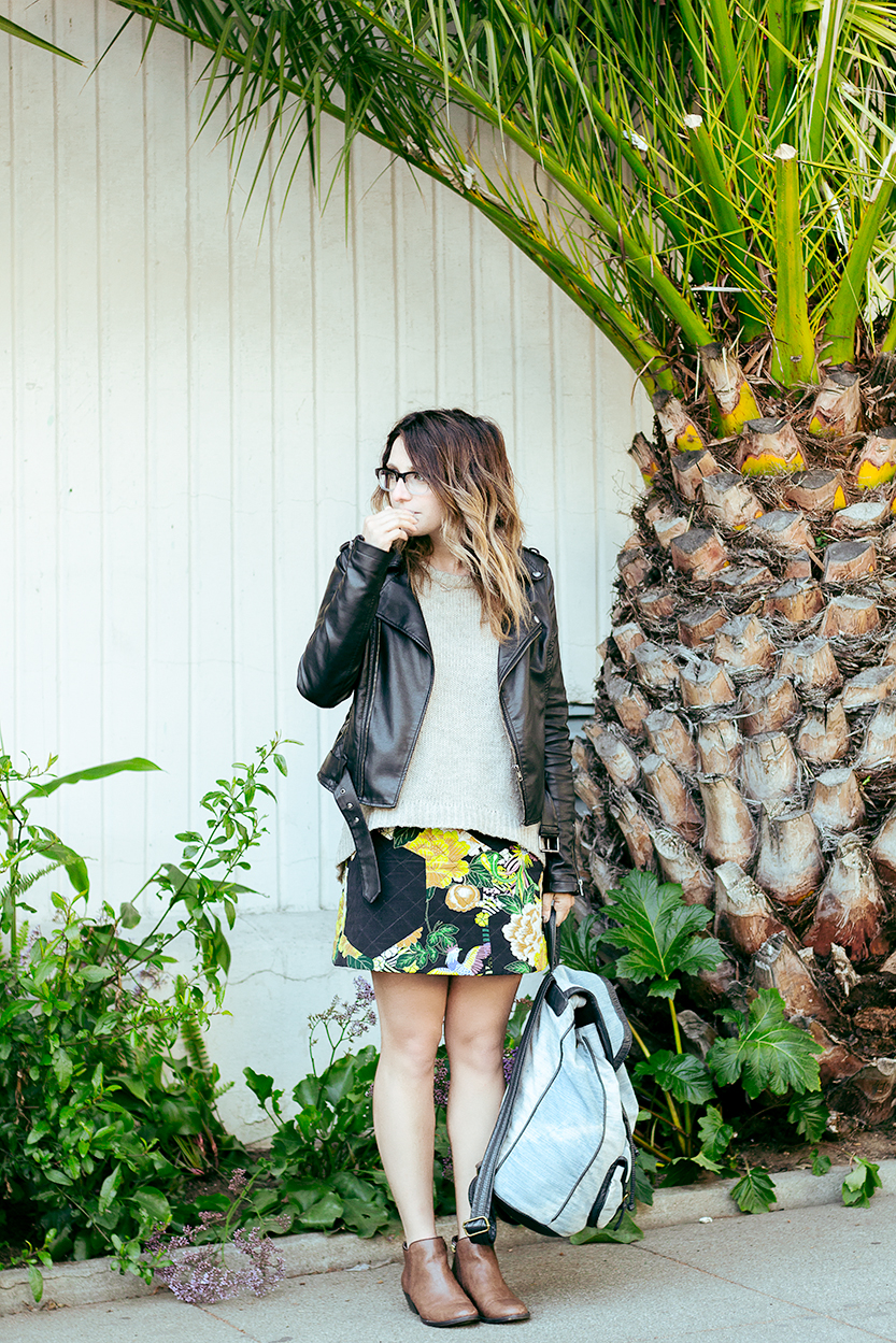 Jacket: Bar III | Sweater: via Andi | Skirt: Topshop via Crossroads Trading | Backpack: Urban Outfitters | Shoes: Steve Madden