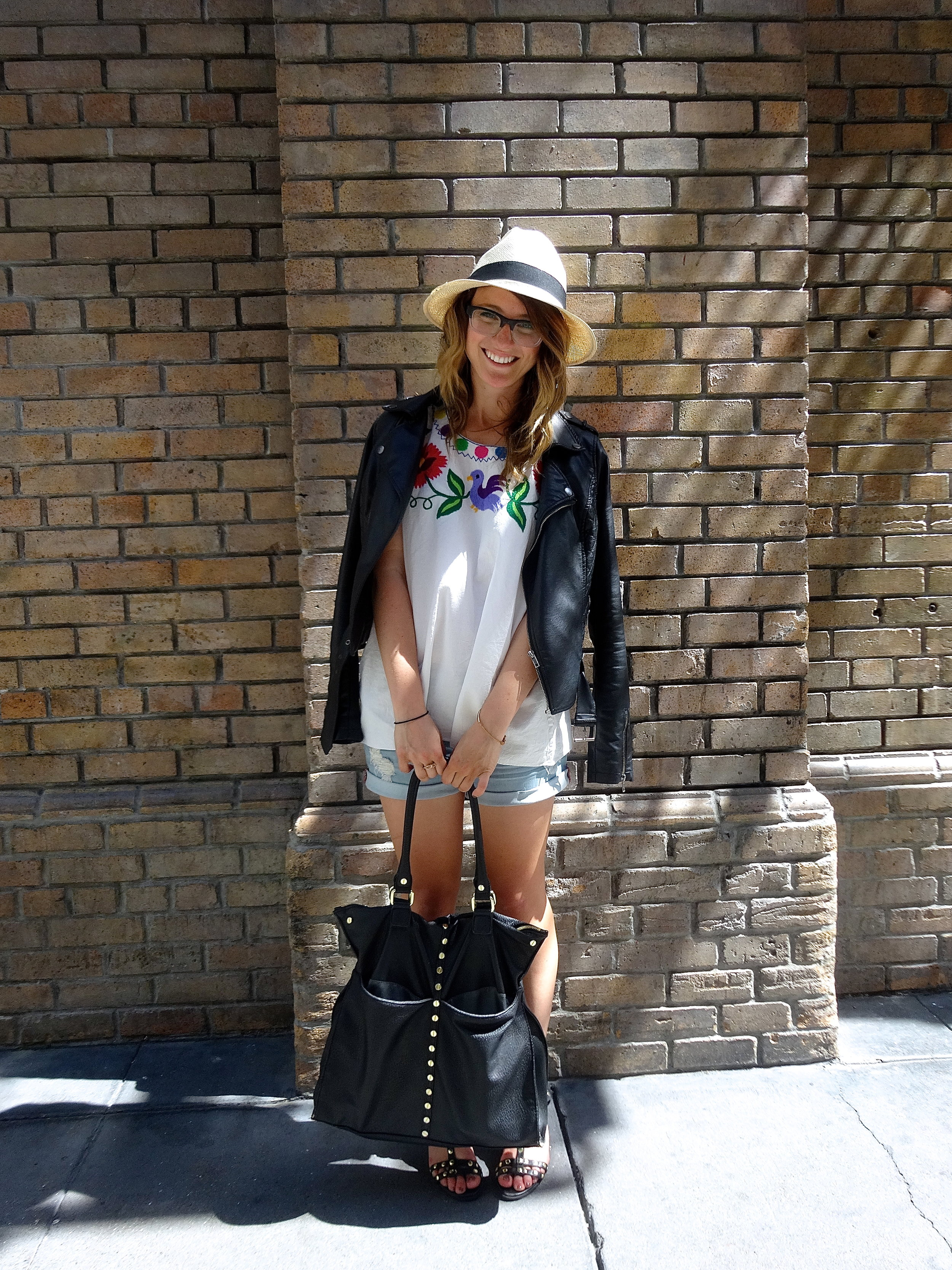Blouse: Unknown via Crossroads Trading | Shorts: F21 | Shoes: H&M | Jacket: Bar III | Hat: Marc by Marc Jacobs