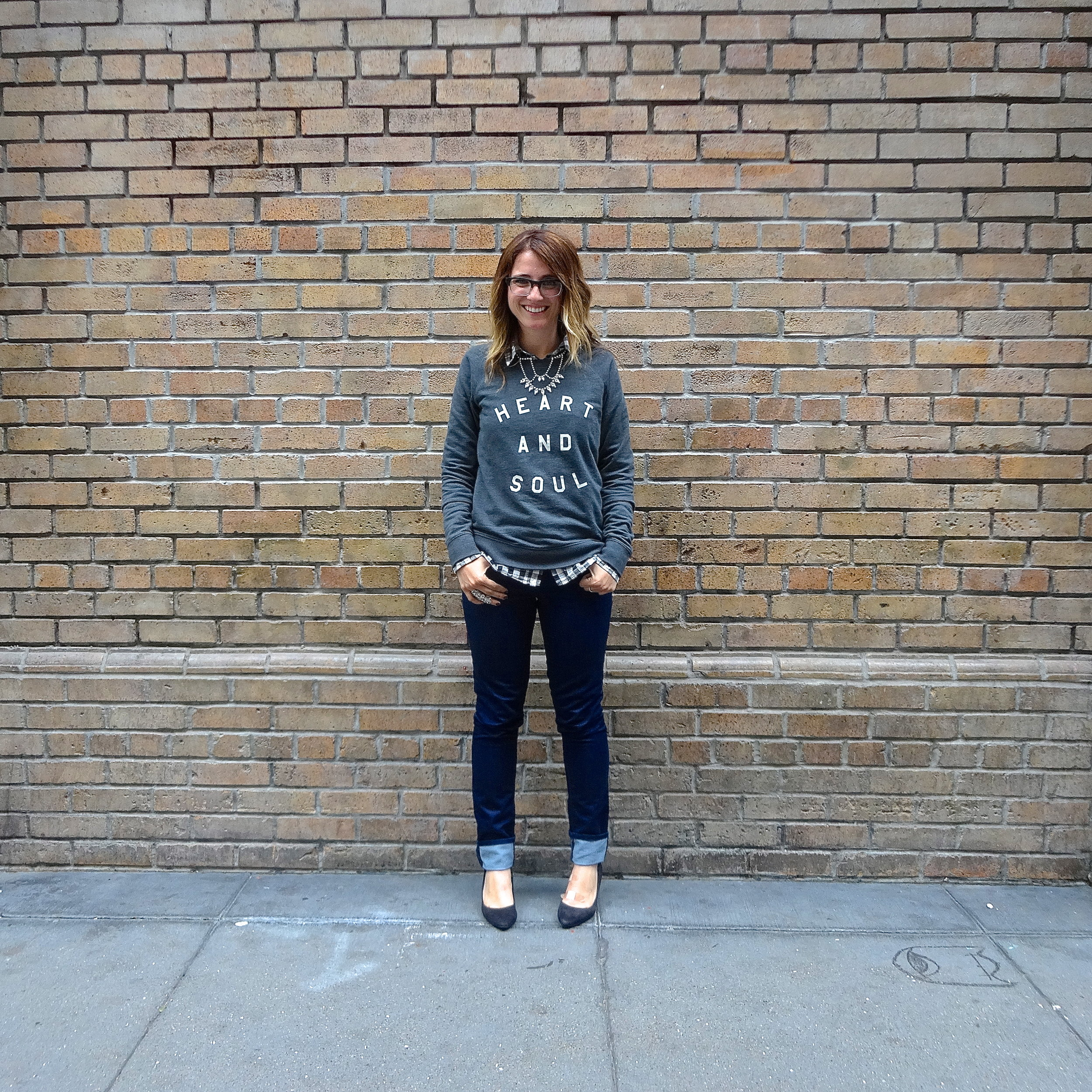 Sweatshirt: Old Navy   Shirt: F21 via Crossroads Trading   Jeans: Gap   Shoes: H&M   Necklace: F21