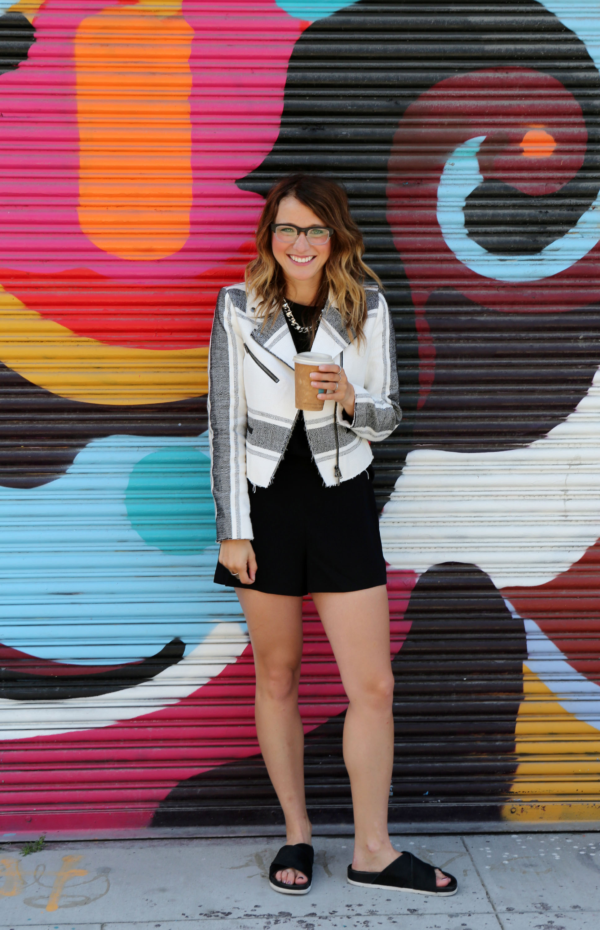 Jacket & Romper: Club Monaco | Shoes: Sam Edelman | Necklace: F21
