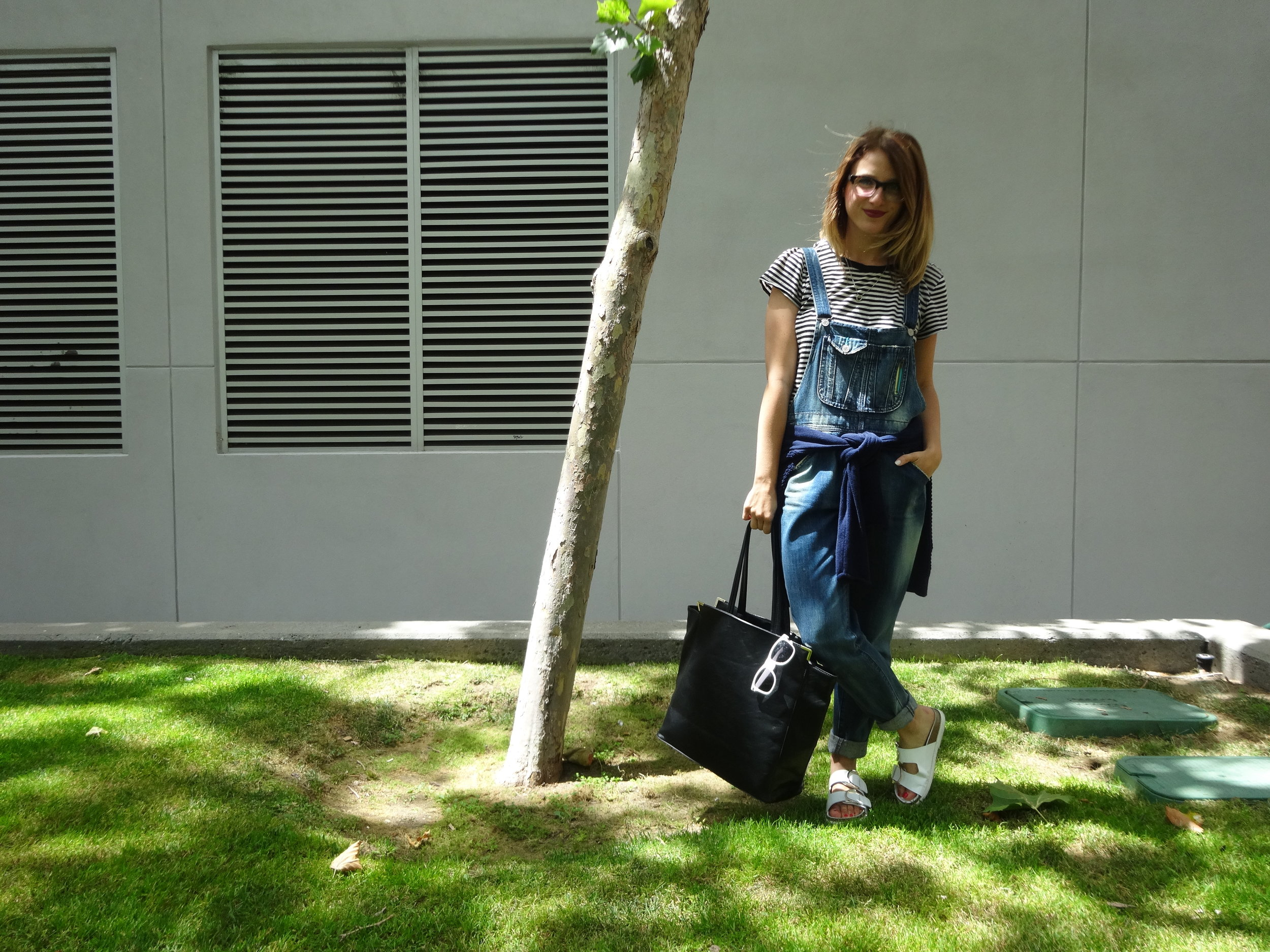 Overalls: Levi's via Crossroads Trading | Shirt: Gap | Sweater: F21 | Shoes: Zara | Bag: F21