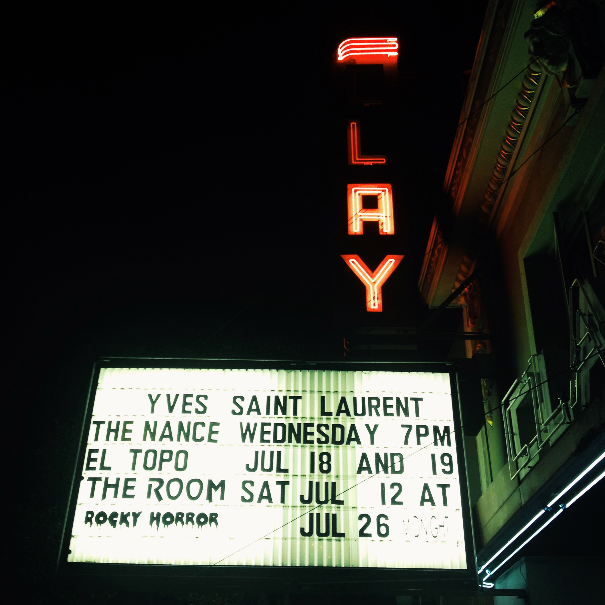 Date night at Clay Theater to see the YSL movie!