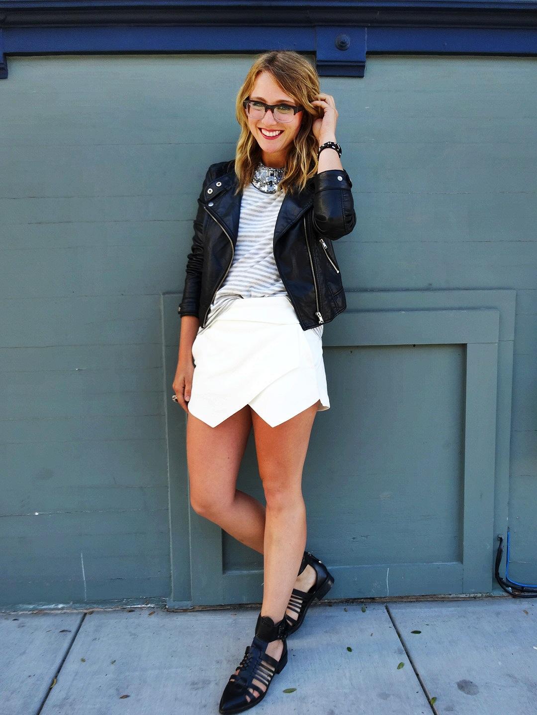 Jacket: F21 | Shirt: Gap | Skort: Zara | Shoes: Zara | Necklace: Unknown