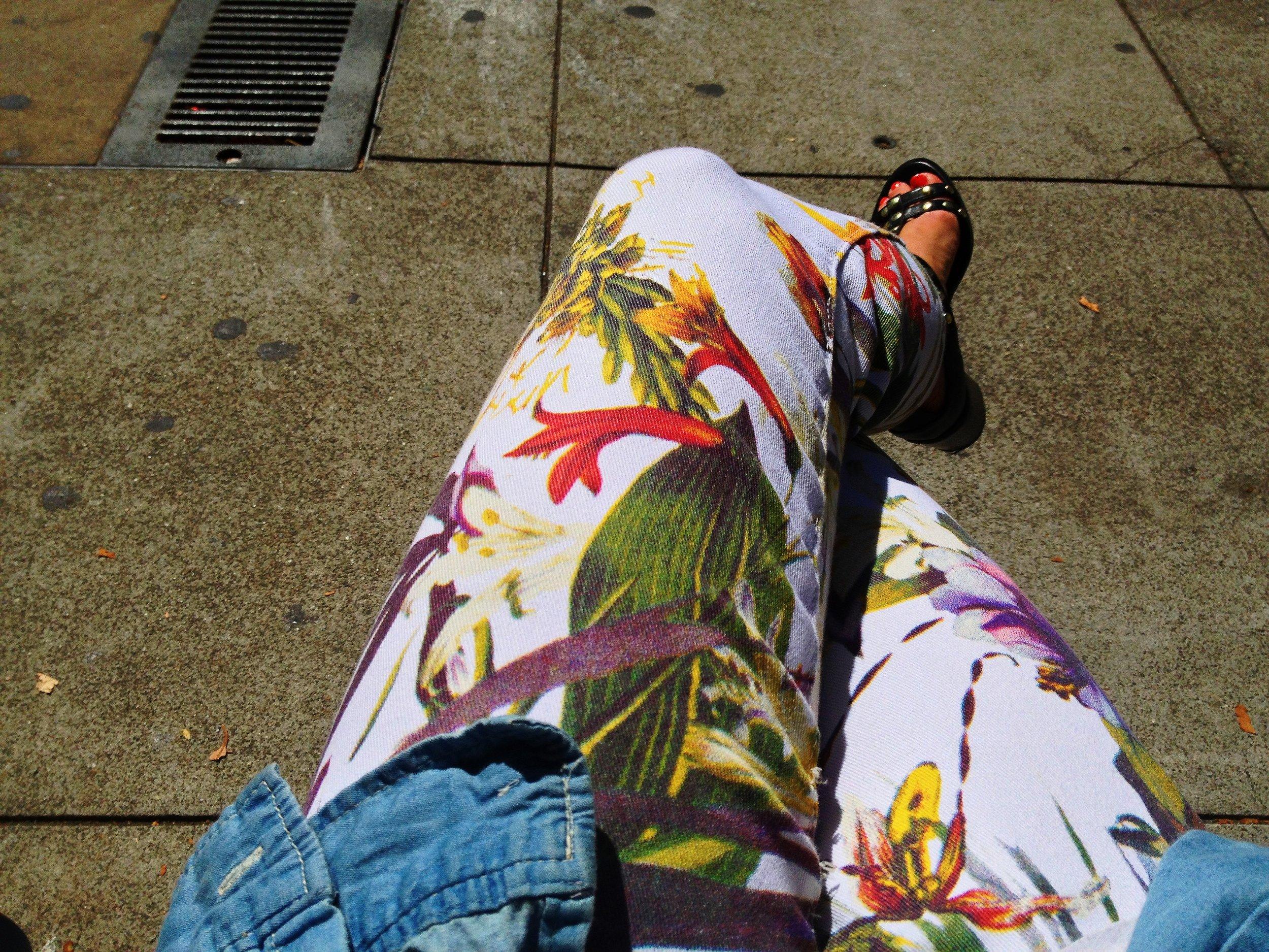 Weekend uniform. Denim and fun floral pants.