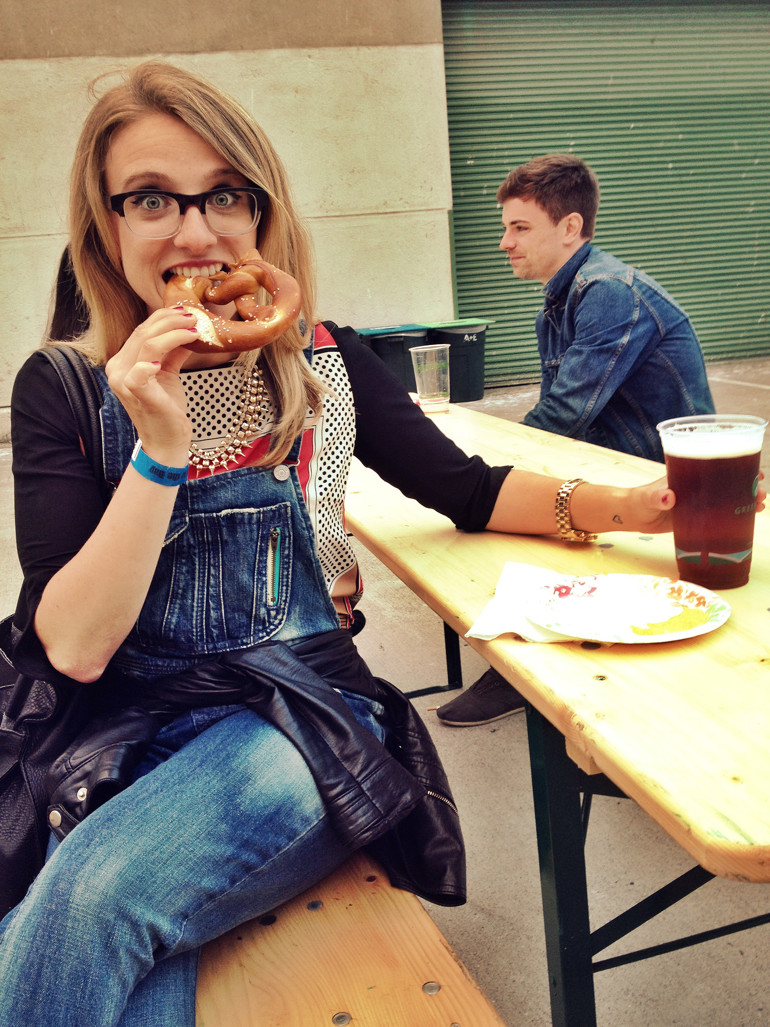This also happened at Oktoberfest. I also was told I was inhaling this pretzel by strangers later.