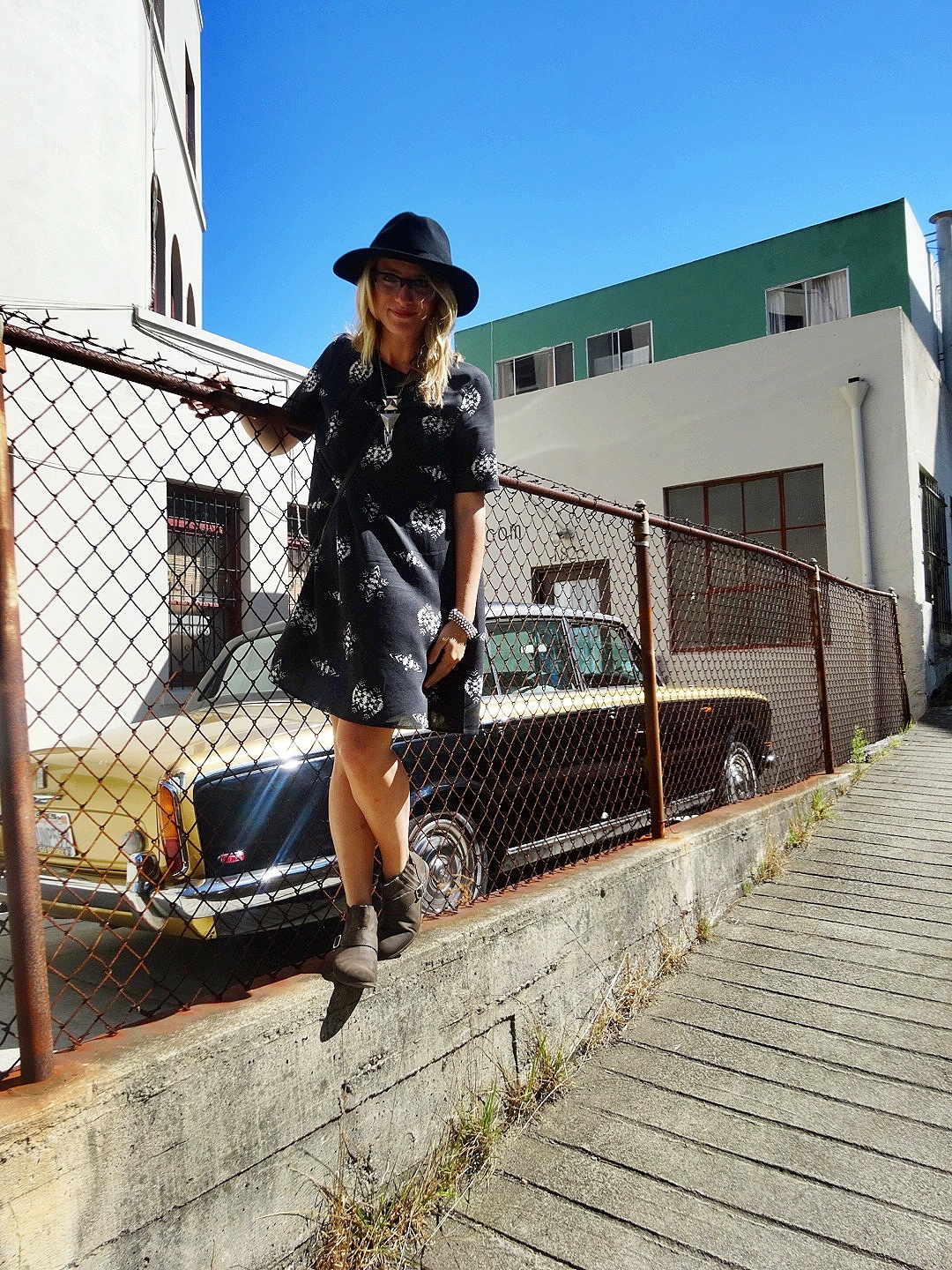 Dress: H&M | Necklace: H&M | Boots: Hats of the Fillmore | Shoes: F21