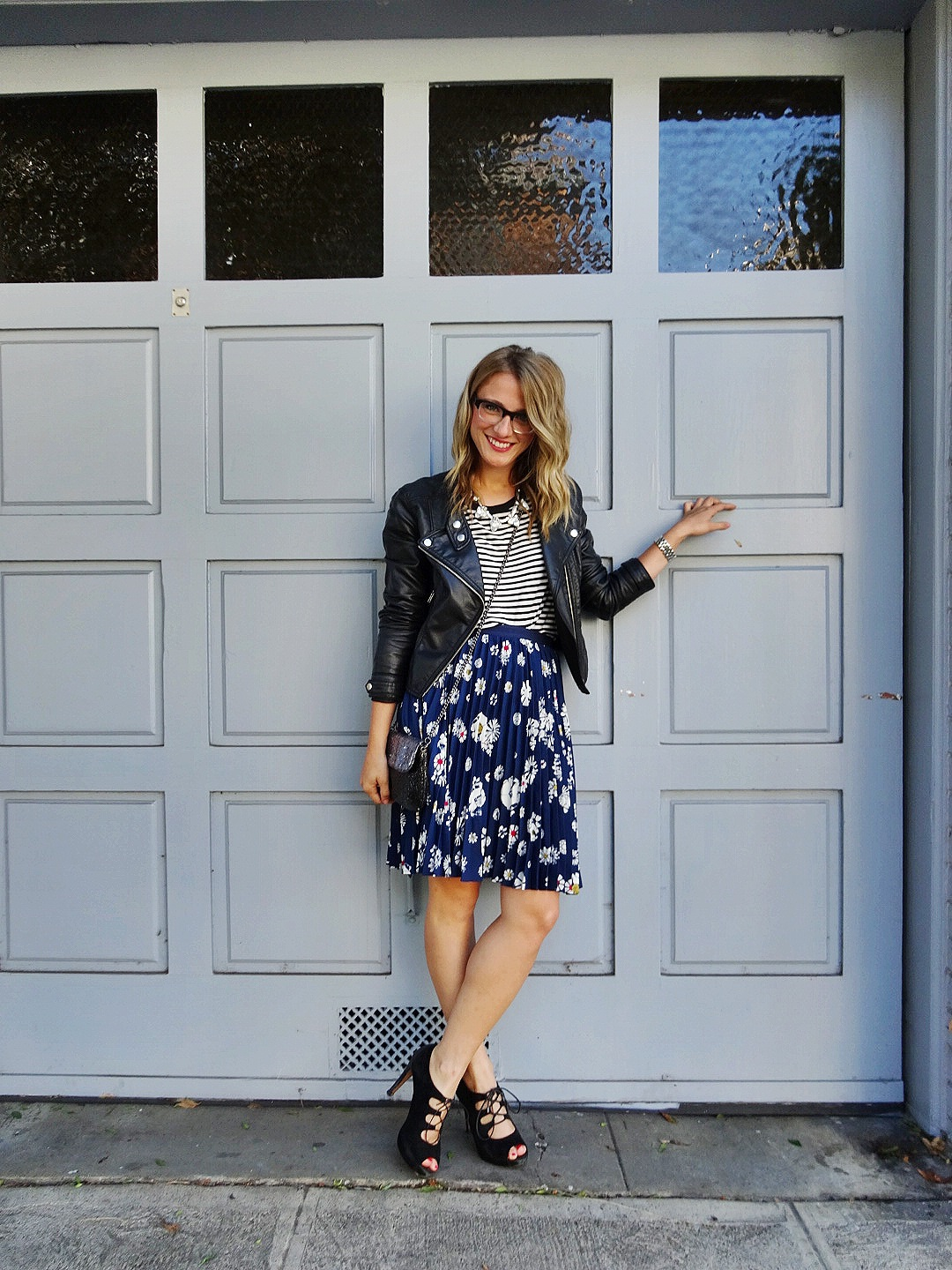 Jacket: F21 | Shirt: Gap | Skirt: Target | Shoes: Target | Necklace: H&M | Purse: J.Crew