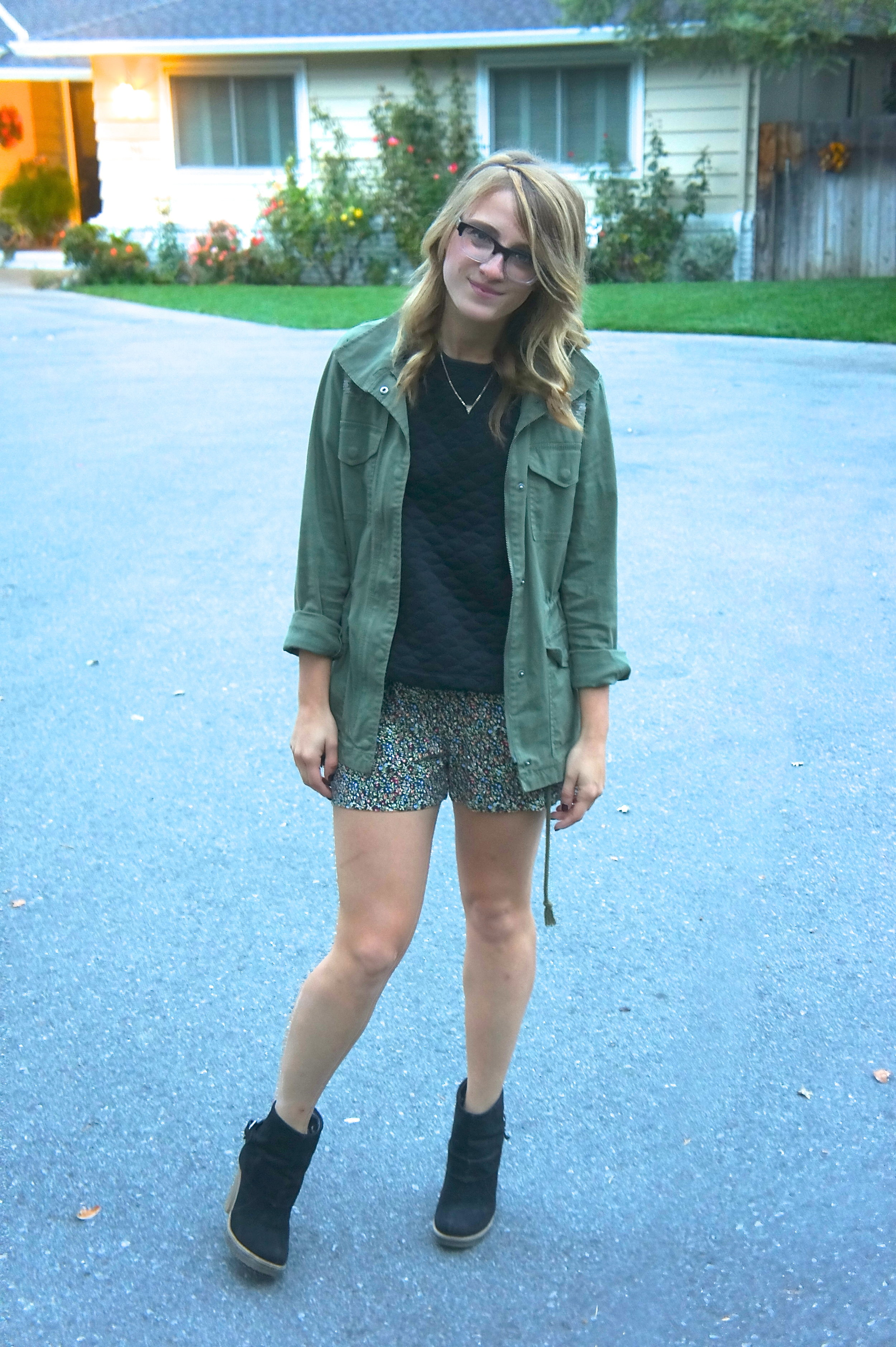 Jacket: Gap | Blouse: Target | Romper: F21 | Shoes: F21