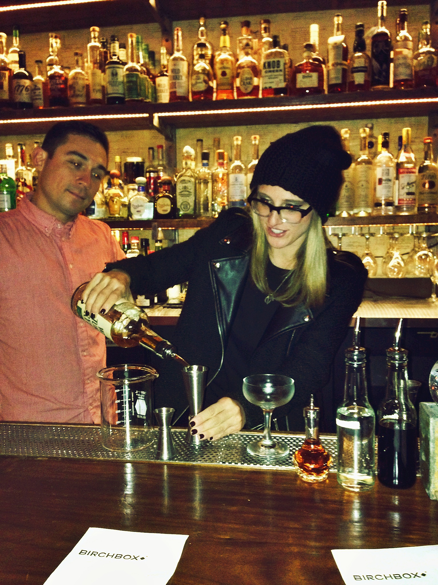 "Birchbox event where I ""attempted"" to make a cocktail. Look at the bartender's expression - PURE JUDGEMENT. :)"