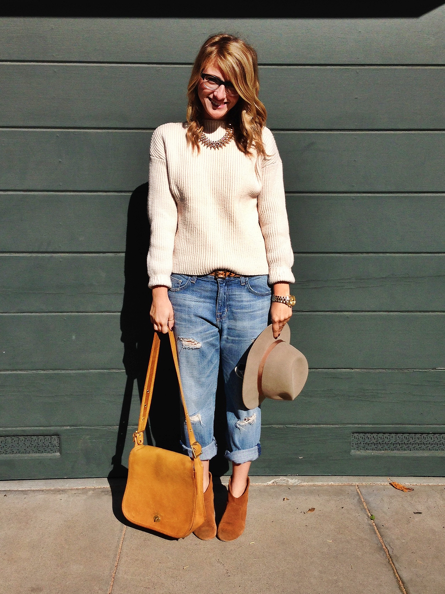Sweater: H&M via Crossroads Trading | Jeans: Current/Elliot via Crossroads Trading | Shoes: Carlos Santana | Purse: Coach | Necklace: H&M | Hat: Sidewalk sale