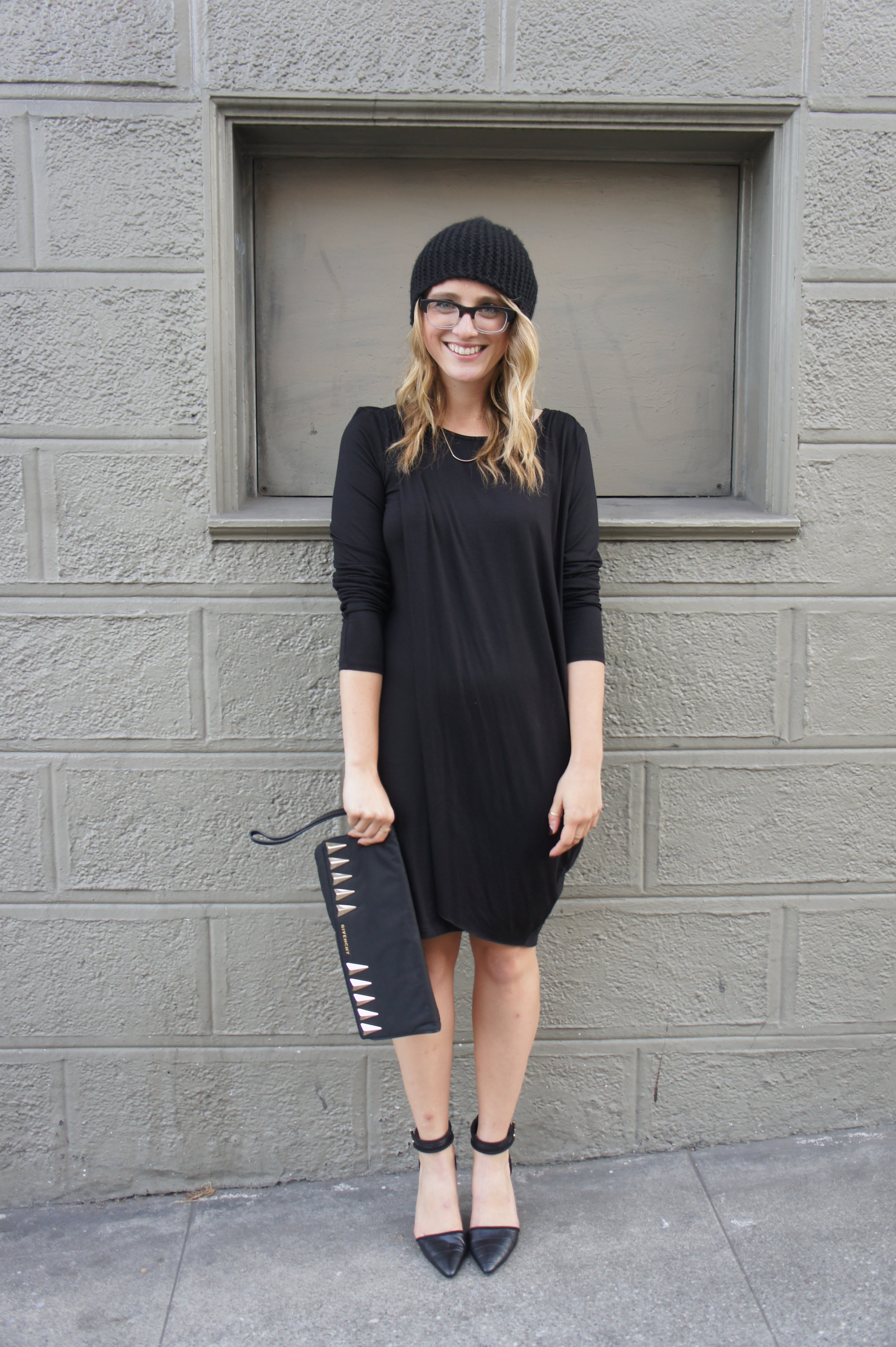 Dress: Bar III | Heels: Charles David | Clutch: Givenchy | Beanie: H&M