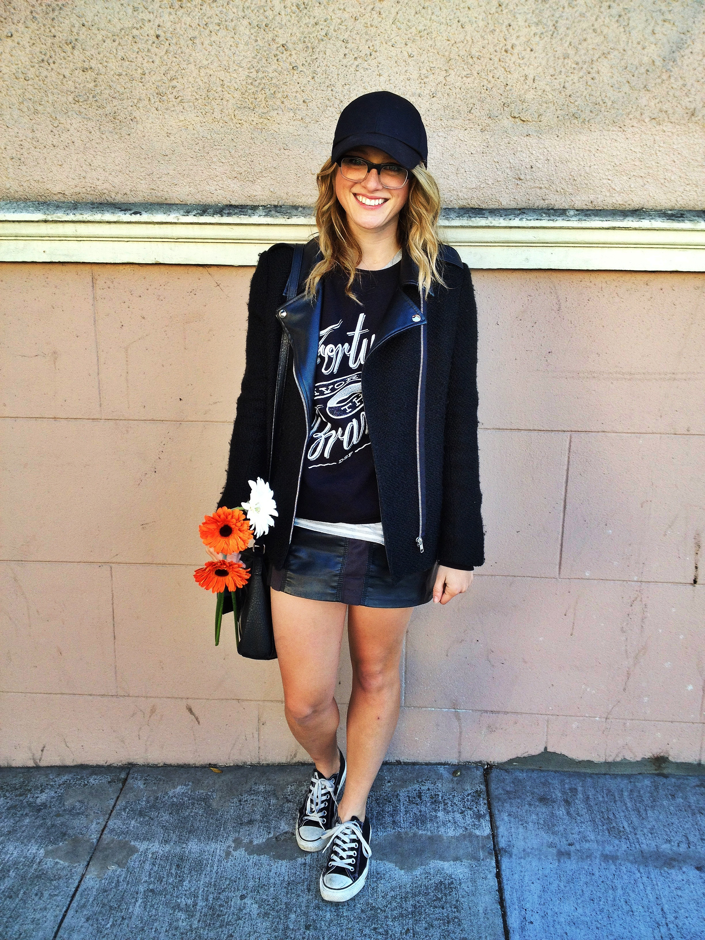 Skirt: H&M | Sweatshirt: DSF | Jacket: Crossroads Trading | Shoes: Converse | Hat: H&M