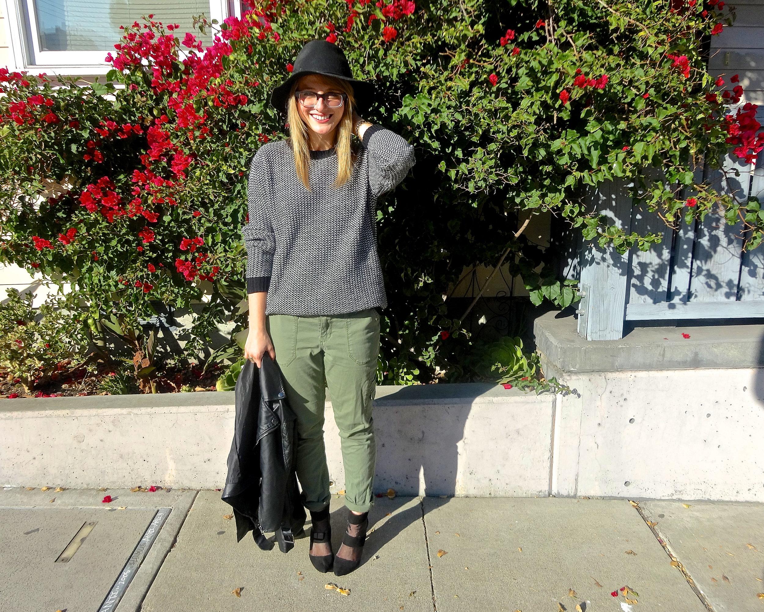 Sweater: F21 | Pants: Target | Hat: Target | Jacket: Bar III | Heels: Zara