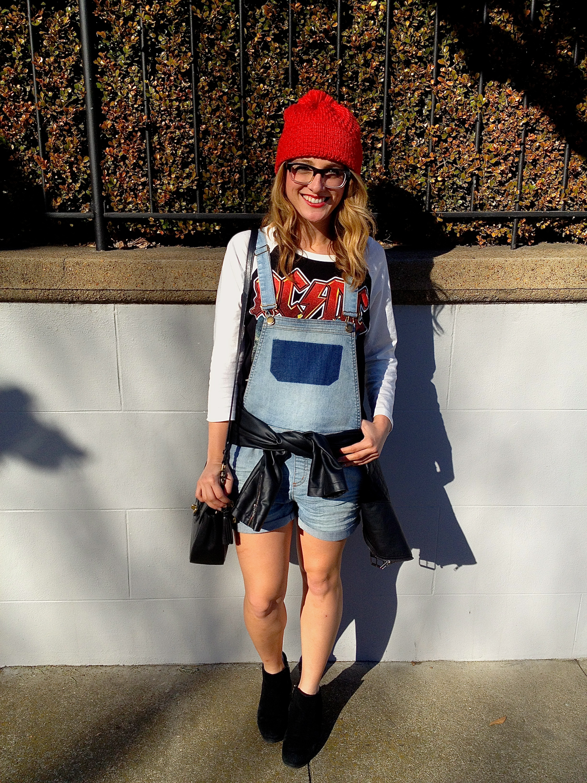 Hat: Gap | Shirt: F21 | Overalls: F21 | Jacket: Bar III | Shoes: Steve Madden |Purse: Coach