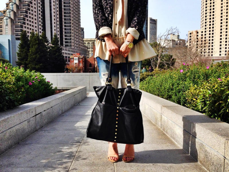 Jacket: Zara | Blouse: Rachel Roy | Pants: Crossroads Trading | Shoes: Zara | Bag: Macy's