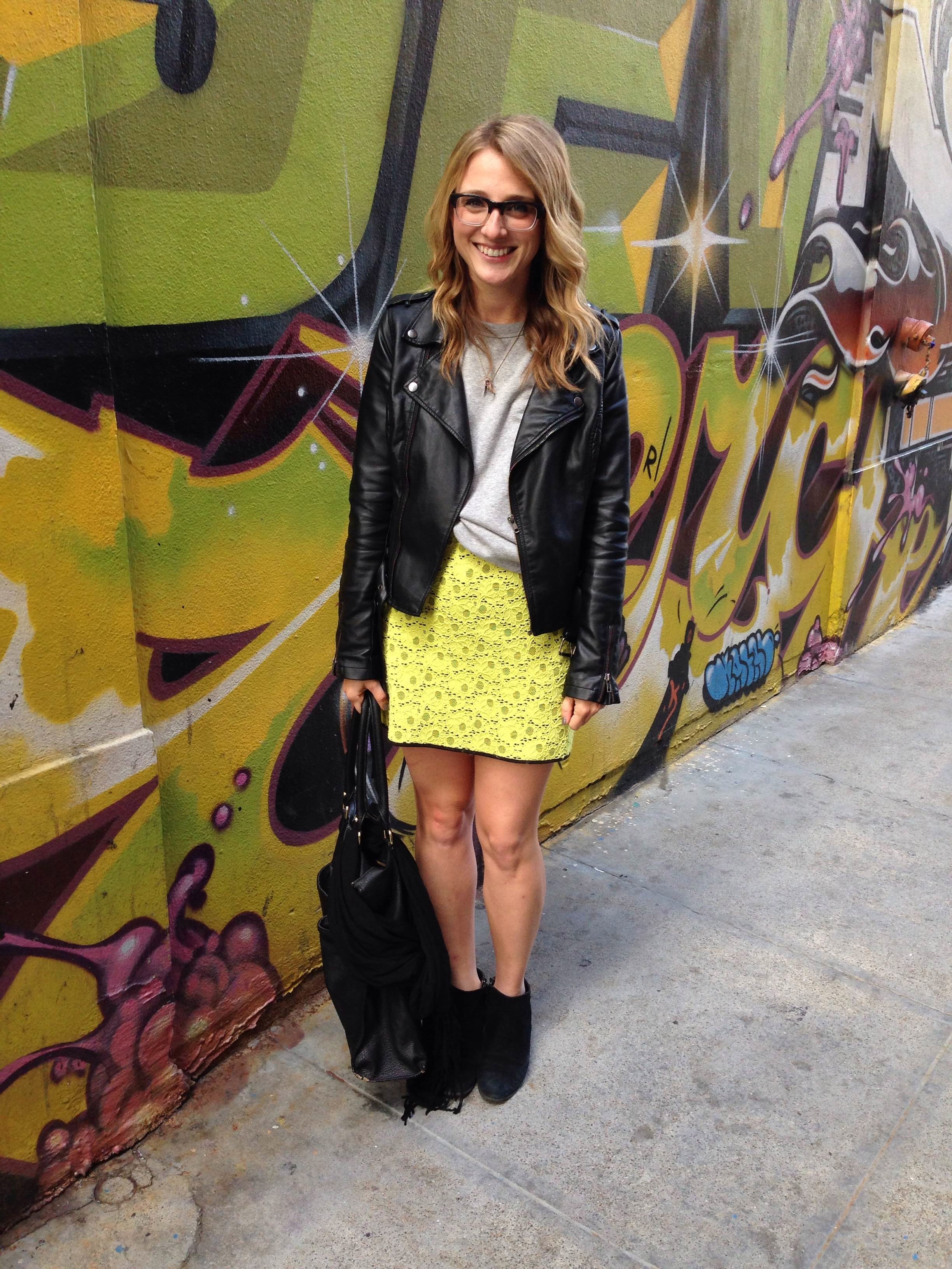 Jacket: Bar III | Sweatshirt: H&M | Skirt: UO via Andi | Shoes: via Andi