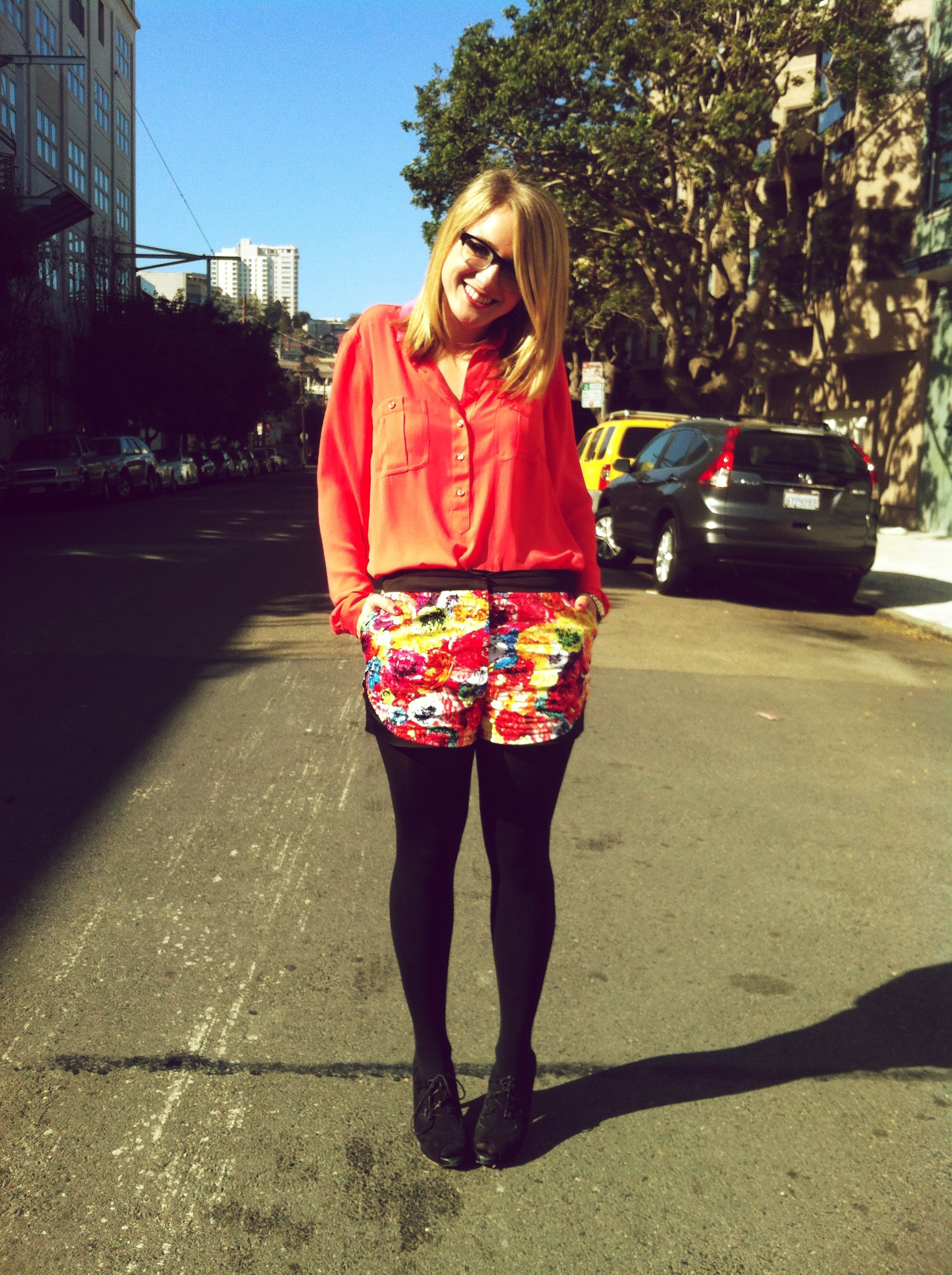 Shirt: LOFT | Shorts: Prabal Gurung x Target | Tights: H&M | Shoes: Talbot's | Ring: F21
