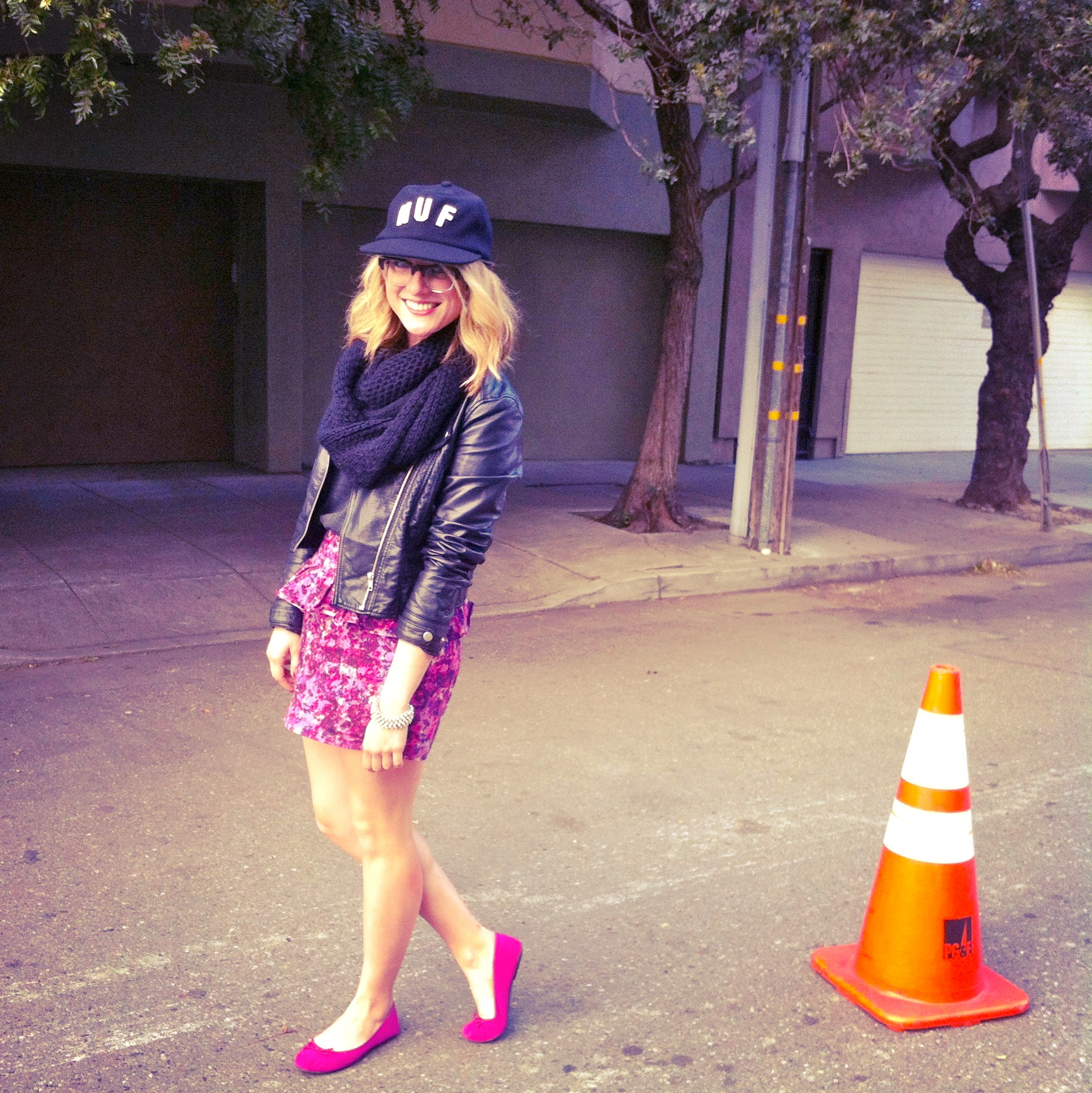 Hat: Huf via Benny Gold | Jacket: F21 | Shirt: ON | Skirt: F21 | Shoes: Target
